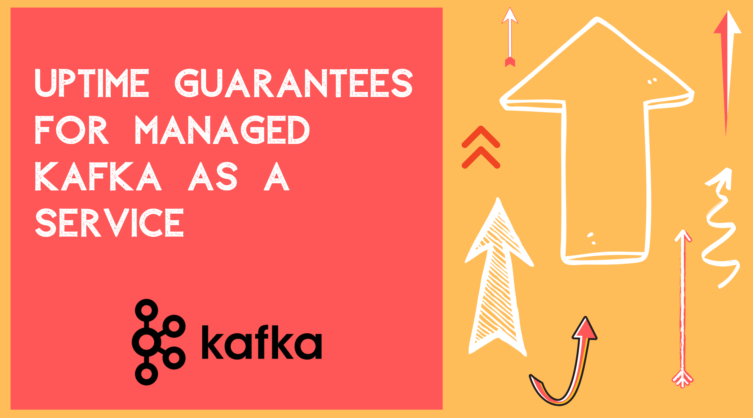 "A bright image with arrows pointing up and the text ""Uptime Guarantees for Managed Kafka as a Service."""
