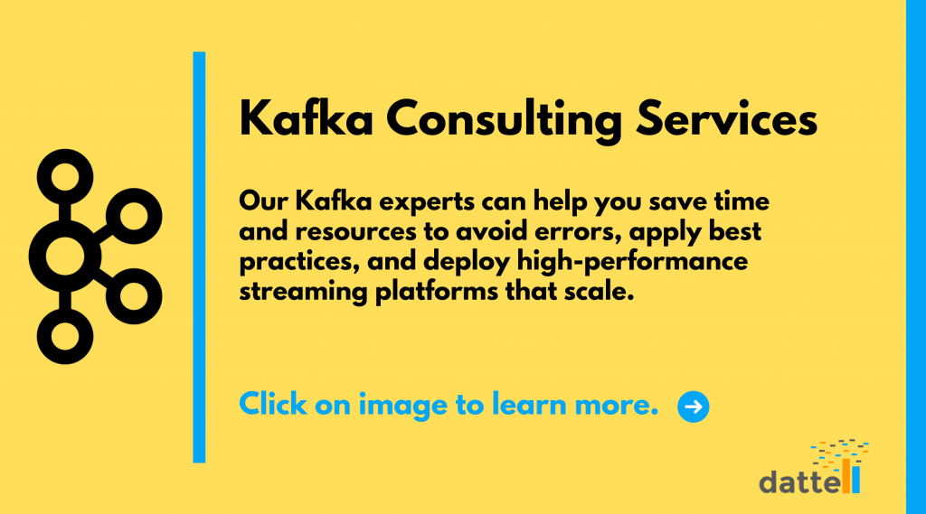 A bright image with the logos for Kafka and Dattell with large font that reads Kafka Consulting Services.
