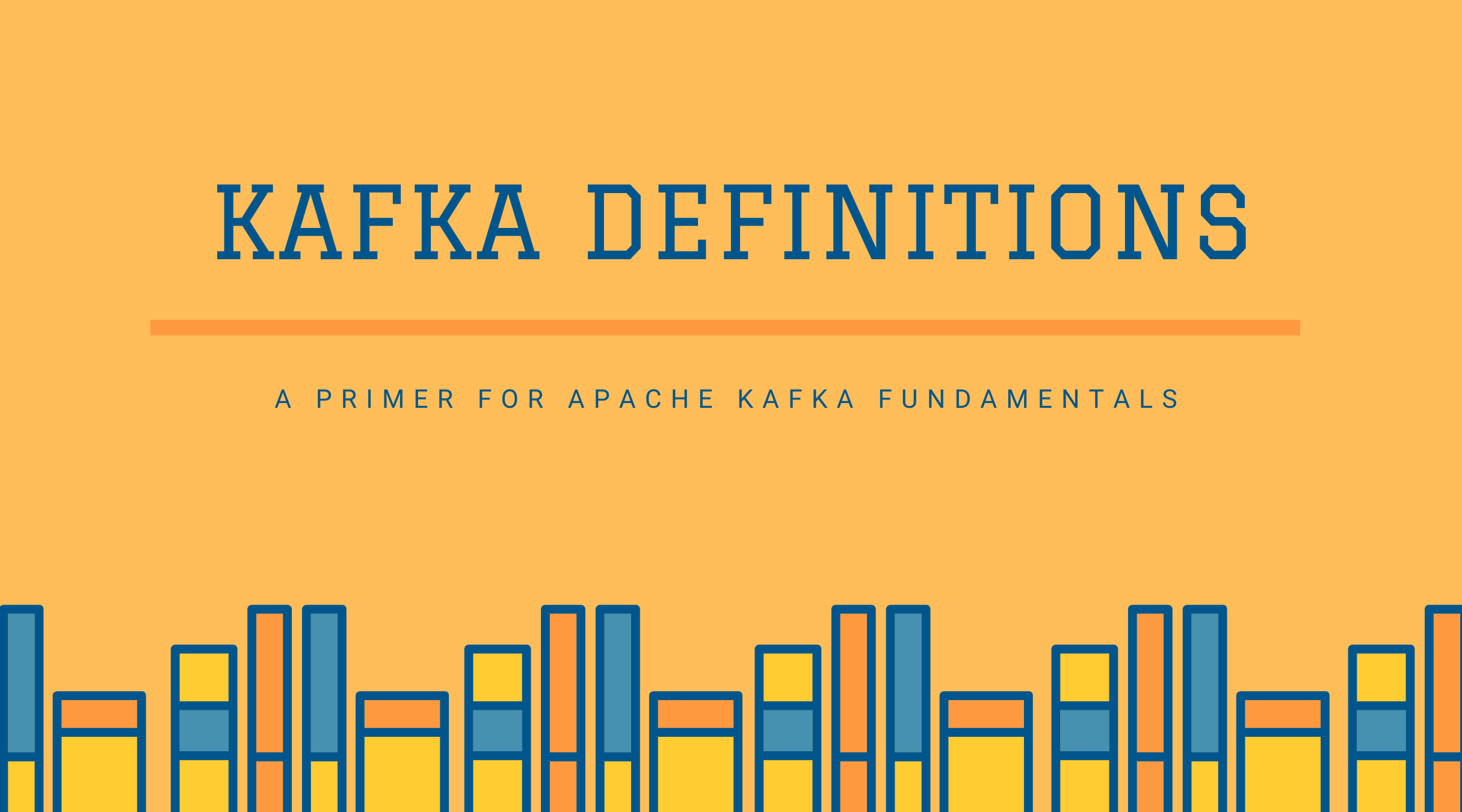 Colorful drawing of books with the title Kafka Definitions.