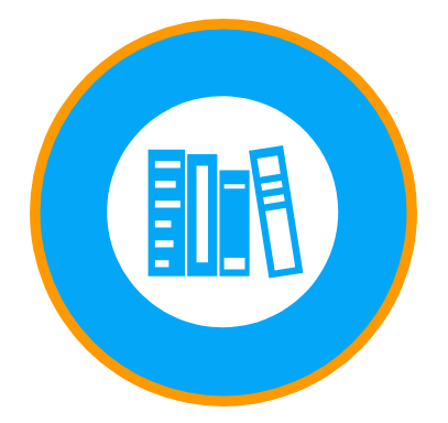 Book logo representing blog page.